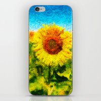 sunflowers iPhone & iPod Skins featuring sunflowers by KrisLeov