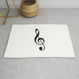 White and Black - Treble Clef Rug