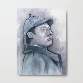 Data as Sherlock Holmes Watercolor TNG Portrait Metal Print