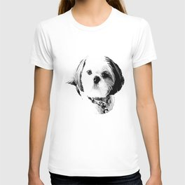 Shih Tzu In Black And White By Annie Zeno T-shirt