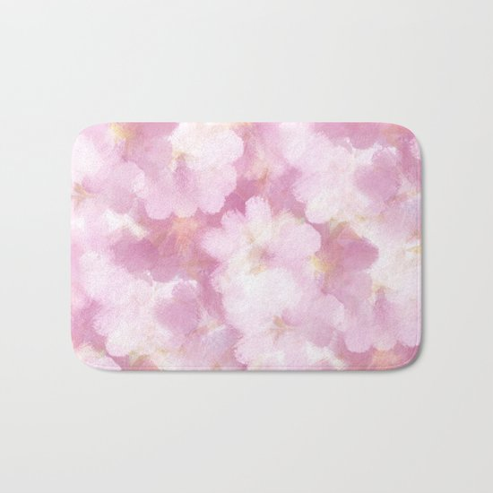 Painted Flowers Abstract Bath Mat
