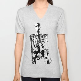 Dr. Hughes And The Skeleton In His Classroom Unisex V-Neck