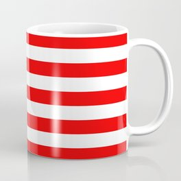 Large Berry Red and White Rustic Horizontal Tent Stripes Coffee Mug