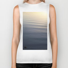 One Rock Waits for Waves in the Morning Light Biker Tank