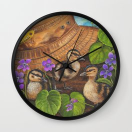 Ducklings and Old Fishing Hat Wall Clock