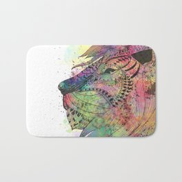 Awesome tribal watercolor lion design Bath Mat