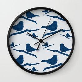 Blue Silhouette Bird Wall Clock