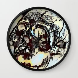 Metal Paper Skull Wall Clock