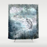 fishing Shower Curtains featuring Fishing swordfish by Menchulica