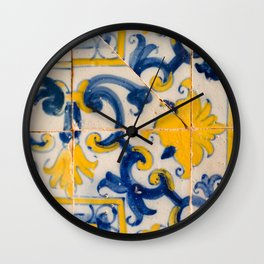 Portuguese azulejos, city of Ericeira Wall Clock
