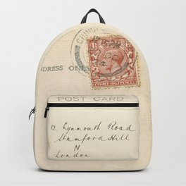 Retro post card  with address and stamp Backpack
