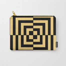 Graphic Geometric Pattern Minimal 2 Tone Illusion Squares (Golden Yellow & Black) Carry-All Pouch