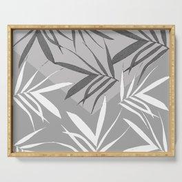 Envelope leaves decor. black. white.grey Serving Tray