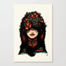 The girl who was thinking about geometry & red flowers Canvas Print