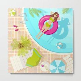 Swimming pool girl in bikini Metal Print
