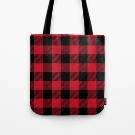 Classic Red and Black Buffalo Plaid Tote Bag