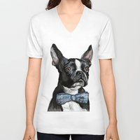 boston terrier V-neck T-shirts featuring Boston Terrier by Orestis Lazos