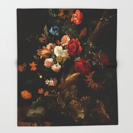 """Ernst Stuven """"Floral still life with Yellow-Bellied Toad and snake"""" Throw Blanket"""