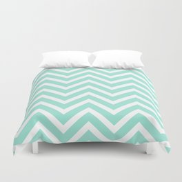 Chevron Stripes : Seafoam Green & White Duvet Cover
