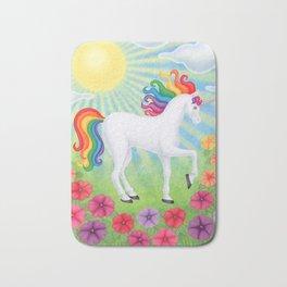 daydreamer (rainbow unicorn), sunshine, petunias Bath Mat