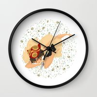 princess mononoke Wall Clocks featuring Princess Mononoke by Amarie