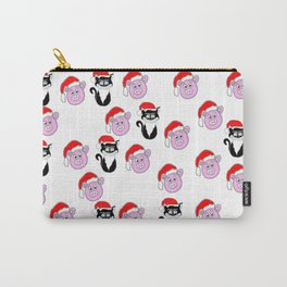 Christmas Cat and Pigs Carry-All Pouch