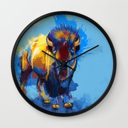 On the Plains - Bison painting Wall Clock