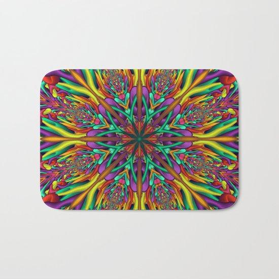Crazy colors 3D mandala Bath Mat