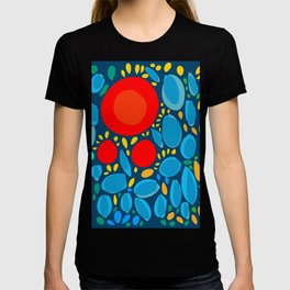 Blue Abstract Floral and decorative pattern T-shirt