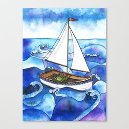 Froggy Goes Sailing Canvas Print
