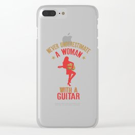 Never Underestimate A Woman With a Guitar product Clear iPhone Case