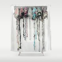 hats Shower Curtains featuring Hanging Hats by Girl with a Hook