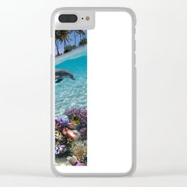 Coral Reef and Dolphins Clear iPhone Case