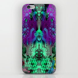 Sugar Skull and Girly Corks (psychedelic, abstract, halftone, op art) iPhone Skin
