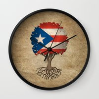 puerto rico Wall Clocks featuring Vintage Tree of Life with Flag of Puerto Rico by Jeff Bartels