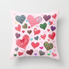 Candy Hearts Throw Pillow