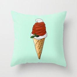 Santa Hat Ice Cream Cone Throw Pillow