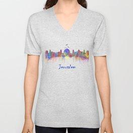 Watercolor Jerusalem City Skyline Unisex V-Neck