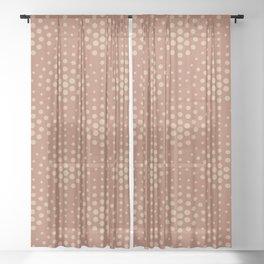 Ligonier Tan SW 7717 Polka Dot Scallop Fan Pattern on Cavern Clay SW 7701 Sheer Curtain