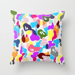 B APE colorful pattern Throw Pillow