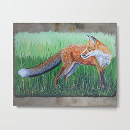 Red Fox on Barn Slate Metal Print
