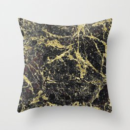 Marble - Glittery Gold Marble on Black Design Throw Pillow