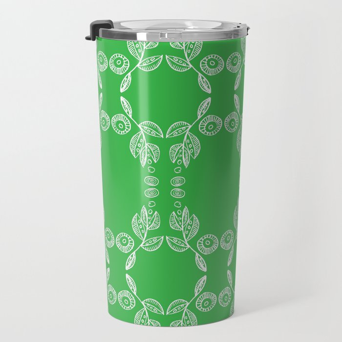 Hand drawn Seed Pods White on Spring Green Travel Mug