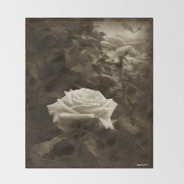 Pink Roses in Anzures 5 Antiqued Throw Blanket