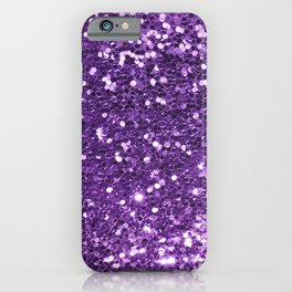 Trendy girly modern purple faux sequins iPhone Case