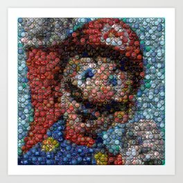 Nintendo Super Mario Bottle Cap mosaic Art Print