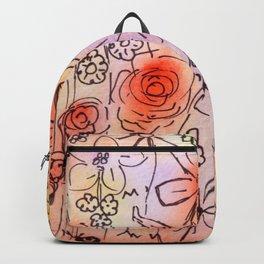 Orange Pastel Floral Watercolour Backpack