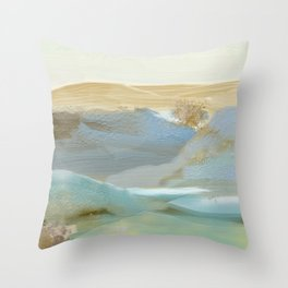 Southwestern Blue, Bronze, Abstract Landscape Painting Throw Pillow