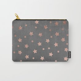 Rose gold Christmas stars geometric pattern grey graphite industrial cement concrete Carry-All Pouch