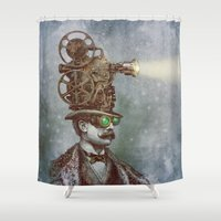 tumblr Shower Curtains featuring The Projectionist (colour option) by Eric Fan